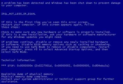 Blue screen: Driver IRQL Not Less or Equal