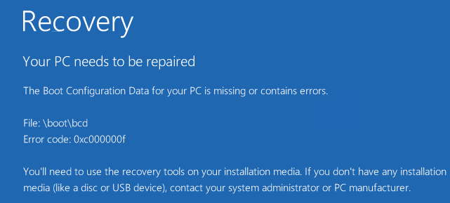 Windows 8 Error code 0xc000000f