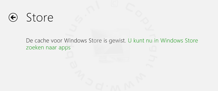 Windows Store cache wissen