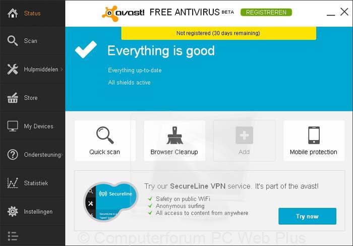 Avast 9 (Nieuwe gebruikersinterface)