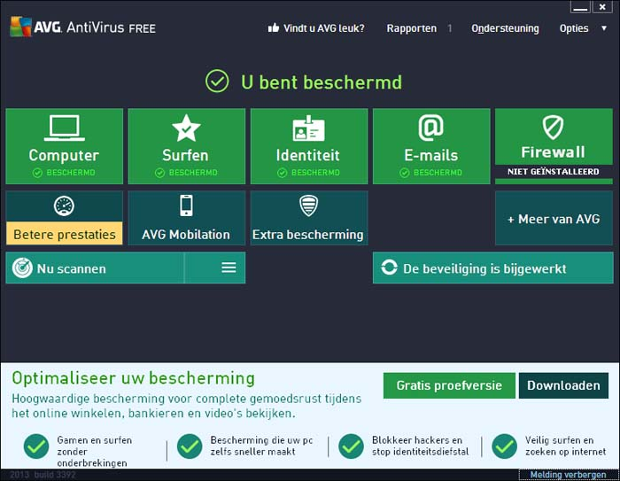 Gratis virusscanner AVG Antivirus Free
